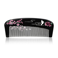 Yumary Natural Black Cattle Horn Comb Anti Static Lacquer Art Cattle Horn Comb Massage Comb Fine Tooth Comb No Handle Comb Gift Box Packaging