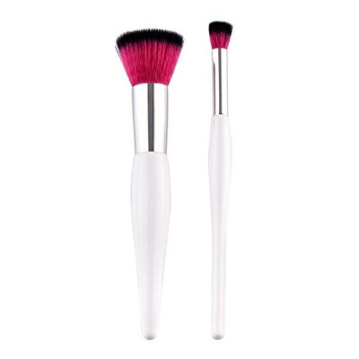 AFfeco 2pcs Wooden Handle Flat Makeup Brushes Set Foundation Cosmetic Tool(White)