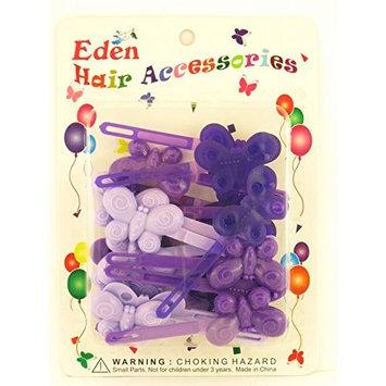 Eden Girls Self Hinge Plastic Butterfly Hair Barrettes - 18 Pcs.