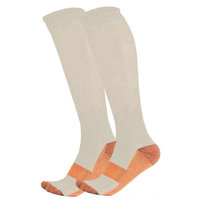 Unisex All Day Comfort Copper Compression Support Socks, Beige, S/M