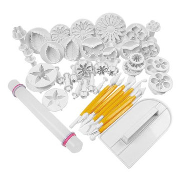 Cake Decorating Fondant Icing Sugarcraft Plunger Cutters Mold Tools 46 in 1