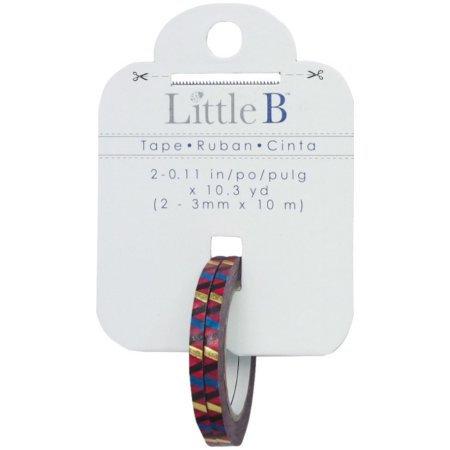 Little B Decorative Foil Tape 3mmx10m-Diagonal Blue/Black/Gold
