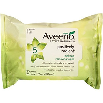 AVEENO Active Naturals Positively Radiant Makeup Removing Wipes, 25 ea (12 Pack)