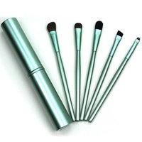 Nesix Makeup EyeShadow Brushes Set & Round Tube - 5 pcs/Sets Premium Foundation Powder Eyeshadow Eyeliner Makeup Tools, Eye Shadows Eyeliner Blending Cosmetic Brushes