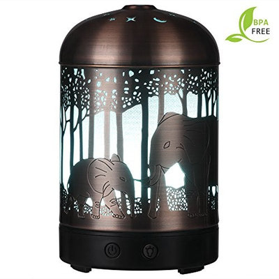 Round Rich Essential Oil Diffuser -120ml Cool Mist Humidifier -14 Color LED Nihgt lamps -Crafts Ornaments All in One is The Upgrade Whisper-Quiet Ultrasonic Metal Elephant Humidifiers US 120V [Elephant bronze]