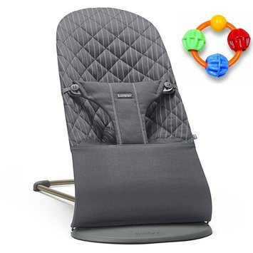 Baby Bjorn Bliss Bouncer Cotton - Gray/Pinstripe with Click Clack Balls Teether