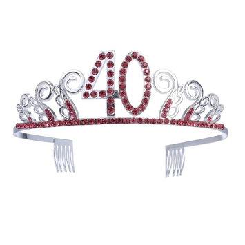 Frcolor 40th Birthday Tiara Crown Red Crystal Rhinestone Tiara with Hair Comb