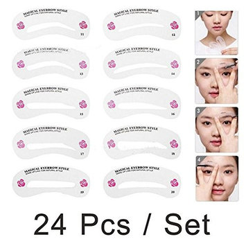 24 Pieces Make Up Eyebrow Stencils 24 Styles Reusable Eyebrow Drawing Guide Brow Template
