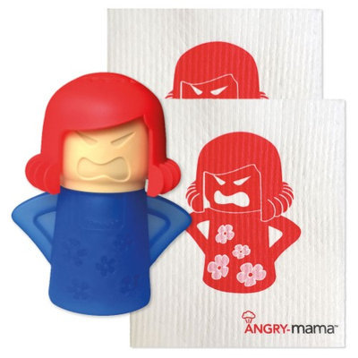 Newmetro Design Angry - Mama Microwave Cleaner And Two-Pack Of Re-Usable Wipes Set