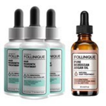 FOLLINIQUE – Hair ReGROWTH Treatment - 100% Pure Argan Oil– Fully FDA Approved - 2% Minoxidil –Clinically Proven Results in 2 months