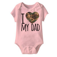 American Classics Army I Camo -Love My Dad Pink Infant Baby Snapsuit Romper