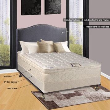 Comfort Bedding of USA Continental Sleep Pillow Top Orthopedic Assembled 9' Mattress and Box Spring with Frame, Queen