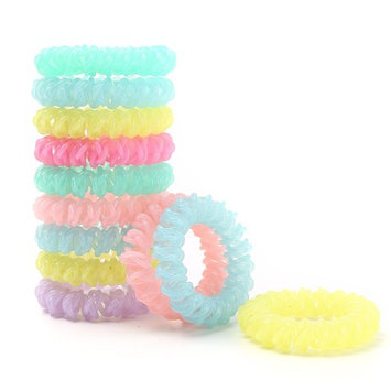 Spiral Hair Ties No Crease Elastic Ponytail Holders Phone Cord Traceless Hair Ring Hair Rubber Bands Suitable for All Hair Types, Pack of 12