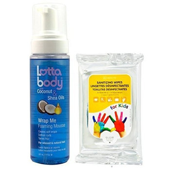 Lottabody Wrap Me Foaming Mousse with Coconut & Shea Oil 7 fl. oz. with Nicka K Sanitizing Wipes 10ct by Lotta body
