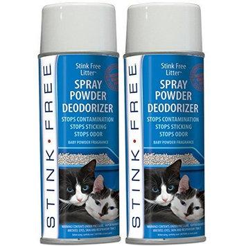 Stink Free Litter Spray Powder Deodorizer (2 Cans) - Eliminate Litter Box Odor