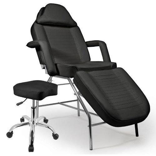 Saloniture Professional Multi-purpose Salon Chair / Massage Table with Adjustable Stool - Black