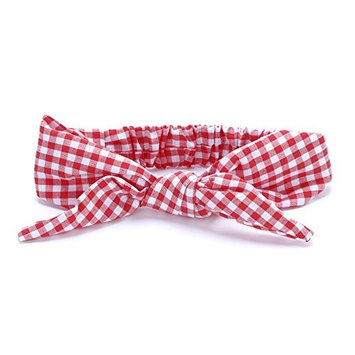 Peppercorn Kids Girls Bow Tie-Up Headwrap (Gingham - Fresh Red)