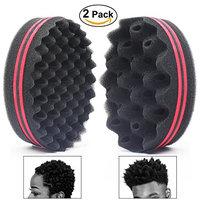 AIR TREE Wave Hair Sponge Holes Magic Barber Sponge Brush Twist Hair For Wave,Dreadlock,Coils,Afro Curl As Hair Care Tool 7 & 10 & 16 Mm Hole Diameter Suitable For Curly Hair (2PCS)