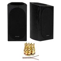 Pioneer Andrew Jones Designed Bookshelf Speaker (Black) + Wire + Banana Plugs