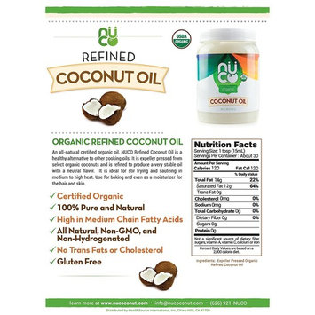 Coconut Oil by Nuco. Certified ORGANIC, Cold Pressed, Pure Neutral flavor. IDEAL for COOKING. 54 oz. / .42 Gallon. Amazing for skin, hair, face, and body.