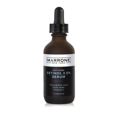 Marrone New York Anti Aging Retinol Serum 2.5%-w Hyaluronic Acid, Jojoba Oil, Aloe Vera, and Vitamin E-Boosts Collagen and Peptides-Acne Treatment-Reduces Wrinkles, Age Spots, and Oily Skin. 2 fl oz