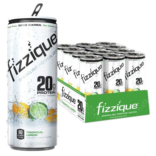 Fizzique Sparkling Protein Water, Tropical Limon, 12 Count [Tropical Limon]