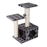 Stable Grey Cat Tree With Paw Print Design Ideal Scratch Post For Cats To Play and Hide. Made of Hardboard Covered in Natural Sisal