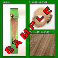 #24 Light Blonde, 6 Inch Sample of Clip on in Human Hair Extensions Set : Beauty