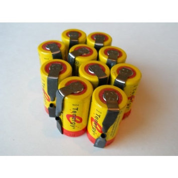 10 Pcs - Tenergy Sub C Battery Rechargeable 2200 mAh 1.2 V NiCd with Solder Tabs for power tools