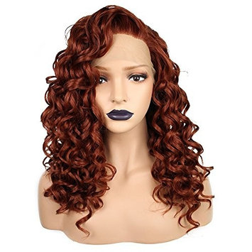 Anogol Hair Cap+Women's Heat Resistant Synthetic Lace Front Wig Copper Red Curly
