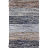 8' x 11' Simply Striped Blue, Beige, and Mocha Reversible Hand Loomed Recycled Denim Throw Rug