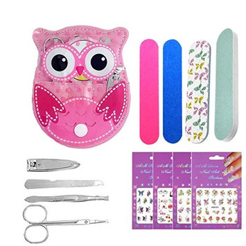 Cute Owl Manicure Pedicure Kit 5pcs, Nail Clipper Scissors, Mirrors, Nail Sanding Files and Buffing Block, Eyebrow Tweezer Trimmer, Professional Grooming Kit for Teens Girls (11A)