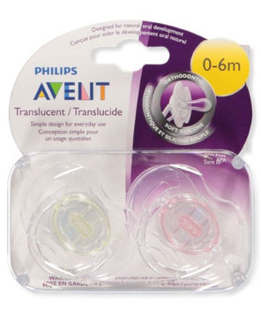 Philips Avent 2-Pack Orthodontic Translucent Pacifiers - pink, one size