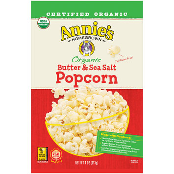 Annie's Organic Butter & Sea Salt Popcorn, 4 oz. Bag
