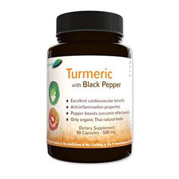 Botaniceutics Organic Turmeric and Black Pepper (Curcuma longa Piper nigrum) - 500 Mg - 90 Capsules. No additives, no fillers. A source of natural curcumin and piperine for your health.
