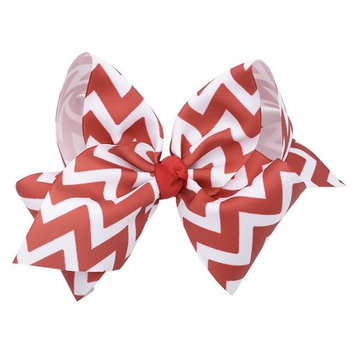 Girls White Red Striped Bow Knot Grosgrain Hair Clippie