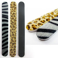 Atb 2 Pc Double Sided Animal Print Nail File & Fur Buffer Zebra Leopard Emery Board