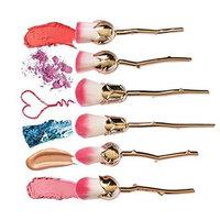 JJMG NEW 6Pcs Colorful Rose Flower Make Up Brushes Set, Powder Setting Brushes, Foundation Brushes, Contouring Brushes Cosmetic Beauty Kit G