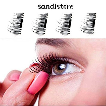 False Magnetic Eyelashes by Sandistore, 1 Pair 4 Pieces 0.5mm Ultra Thin Fake Mink Eyelashes for Natural Look   Reusable Best Fake Lashes   Cruelty Free   Perfect for Deep Set Eyes