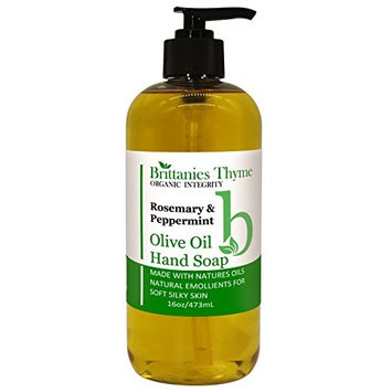 Organic Olive Oil Hand Soap, 16 oz - Made with Natural Luxurious Oils. Vegan & Gluten Free (Rosemary & Peppermint)
