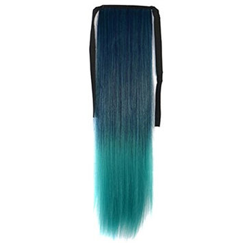 Women 22 inch Dip-Dye Ombre Color Ribbon Ponytail Heat Resistant Synthetic Fiber Gradient Long Straight Hair Extensions Hairpieces Masquerade Party