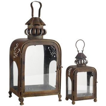 A & B Home Inc set of 2 iron candle lanterns