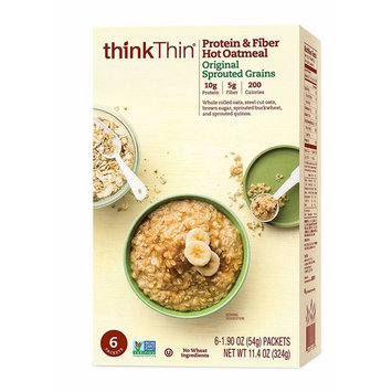 thinkThin Protein & Fiber Hot Oatmeal, Original Sprouted Grains, 6-1.90 oz Packets per Box