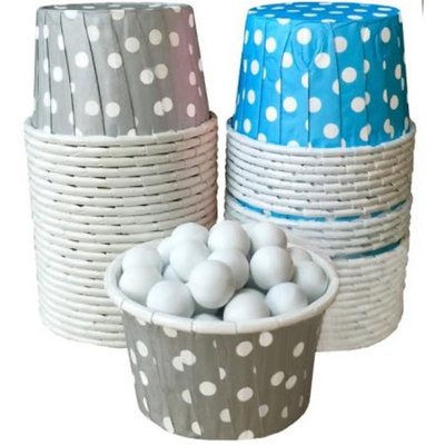 Blue and Silver Polka Dot Candy/Nut Cups Mini Muffin Cup -48