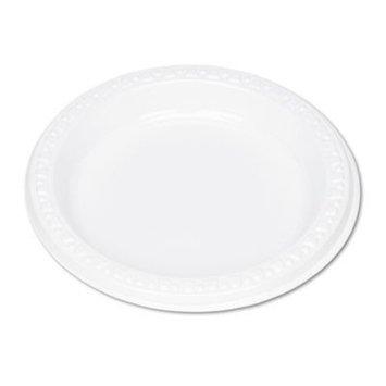 Tablemate Plastic Dinnerware Plates, White, 6