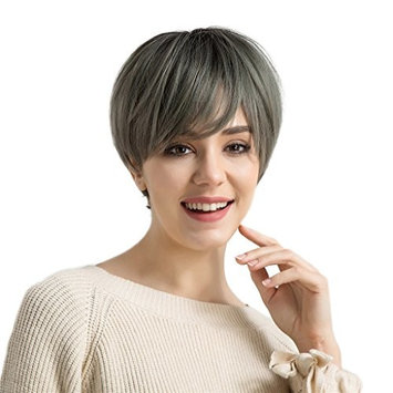 Homyl Fluffy Synthetic Wigs Short Straight Hair Wig Heat Resistant Cosplay Party Costume