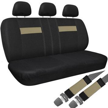 Oxgord 8pc Tight Woven Sport Mesh Low Back Rear Bench Car Seat Cover, Tan & Black