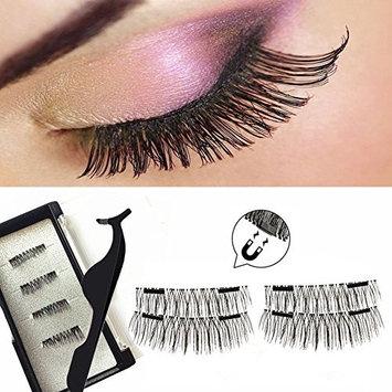 Upgraded Magnetic Eyelashes Plus Tweezers , 0.2mm Ultra Thin Magnetic False Eyelashes , Reusable Fake Lashes (4 Pieces)