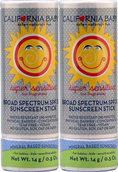 California Baby Super Sensitive Broad Spectrum SPF 30+ Sunscreen Stick - Fragrance Free - 0.5 Ounce - 2 Count