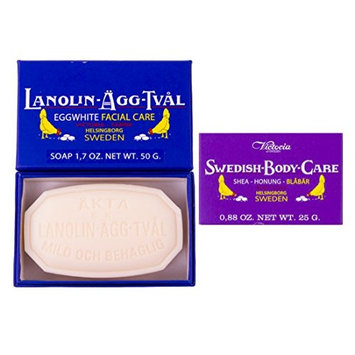 Victoria of Sweden Set of Lanolin-Agg-Tval Eggwhite Facial Soap(2pcs) and Blueberry Bath and Body Bar